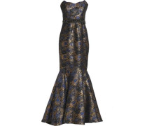 Strapless embellished jacquard gown