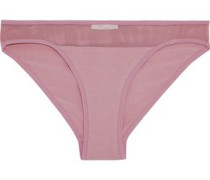 Mesh-trimmed Stretch-cotton Jersey Mid-rise Briefs Antique Rose