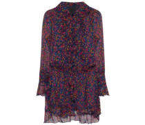 Ruffled Floral-print Silk-georgette Mini Dress Multicolor