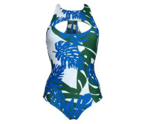 Cutout printed stretch-knit swimsuit