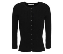 Embroidered Ribbed-knit Cardigan Black