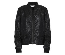 Shirred embroidered faille bomber jacket