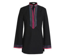 Embellished crepe-trimmed cotton-blend poplin tunic