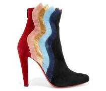 Paneled Suede Ankle Boots Multicolor