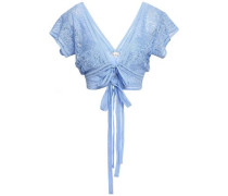 Estella Bow-detailed Crochet-knit Top Light Blue