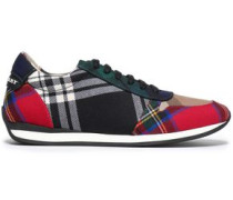 Patchwork-effect Checked Woven Sneakers Multicolor