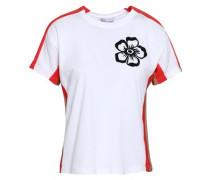 Printed Paneled Cotton-jersey T-shirt White