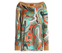 Metallic-trimmed printed silk and cotton-blend blouse