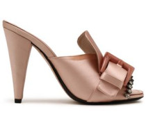 Woman Crystal-embellished Buckled Satin Mules Pastel Pink