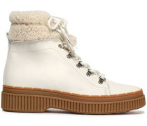 Shearling-trimmed Leather Snow Boots Ivory