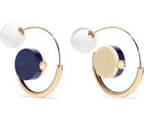 Gold-tone Resin Hoop Earrings Blue Size --
