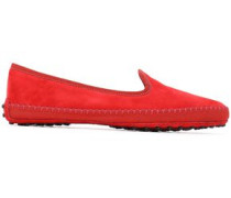 Grosgrain-trimmed Suede Slippers Red