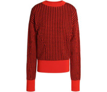 Houndstooth jacquard wool-blend sweater