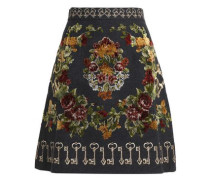 Embroidered wool-blend skirt