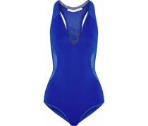 Cutout mesh-paneled neoprene swimsuit