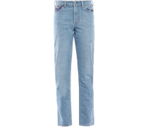 Faded Printed Mid-rise Straight-leg Jeans Light Denim  9W-32L