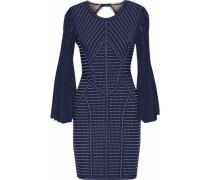 Pointelle-paneled Cutout Jacquard-knit Mini Dress Navy