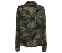 Woman Printed Cotton And Cashmere-blend Jacket Army Green