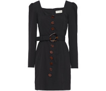 Belted Button-embellished Twill Mini Dress