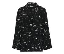 Printed Silk Crepe De Chine Pajama Top Black