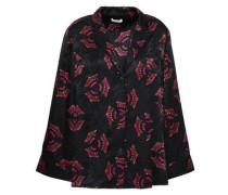 Printed Silk-jacquard Shirt Black Size 0