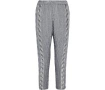 Robert Embellished Chiffon Tapered Pants Gray