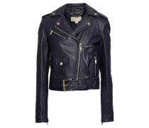 Leather Biker Jacket Navy