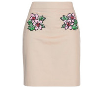 Embroidered Stretch-cotton And Linen-blend Mini Skirt Sand
