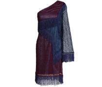 One-shoulder fringed corded lace mini dress