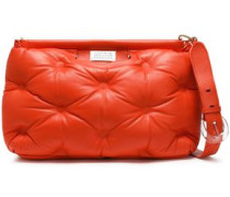 Quilted Leather Clutch Bright Orange Size --