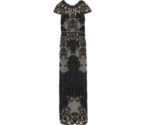 Cutout Scalloped Guipure Lace Gown Black Size 0