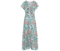 Shiffly Ruffled Floral-print Broderie Anglaise Cotton Midi Dress Teal