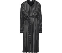 Woman Belted Pleated Pinstriped Crepe De Chine Dress Black