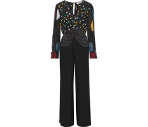 Sophie Tie-front Polka-dot Silk-chiffon And Crepe Jumpsuit Black