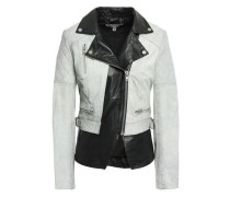 Cracked And Smooth-leather Biker Jacket Light Gray Size 12