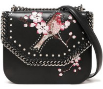 Studded Embroidered Faux Leather Shoulder Bag Black Size --
