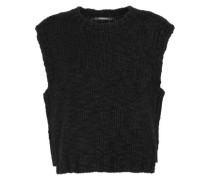 Open-knit Wool Vest Black