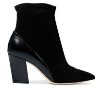 Glossed-leather and suede ankle boots
