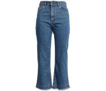 Frayed Boyfriend Jeans Dark Denim  4