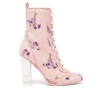 Lace-up Floral-print Canvas Ankle Boots Blush
