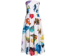 Strapless gathered printed cotton-poplin midi dress