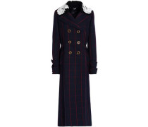 Guipure Lace-paneled Checked Wool Coat Navy