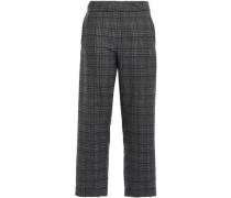 Cropped Wool-blend Tweed Straight-leg Pants Anthracite