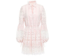 Gathered Broderie Anglaise Cotton Mini Dress Pastel Pink
