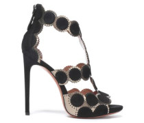 Metallic Laser-cut Leather And Suede Sandals Black