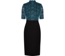 Metallic guipure lace-paneled knitted dress