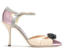 Woman Embellished Color-block Patent And Mirrored-leather Pumps Baby Pink