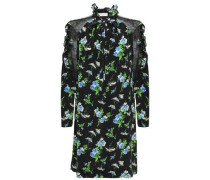 Pussy-bow Lace-trimmed Silk Crepe De Chine Mini Dress Black