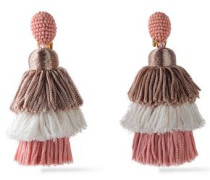 Gold-tone, Bead And Tassel Clip Earrings Pink Size --