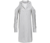 Cold-shoulder Striped Twill Mini Shirt Dress Light Gray